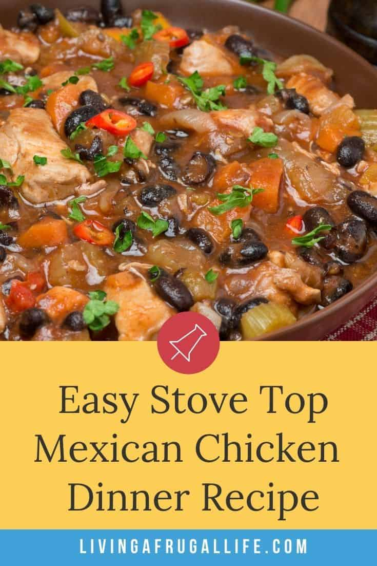 Close up picture of a bowl of the easy stove top mexican chicken recipe. It has a text on the picture that says easy stove top mexican chicken.