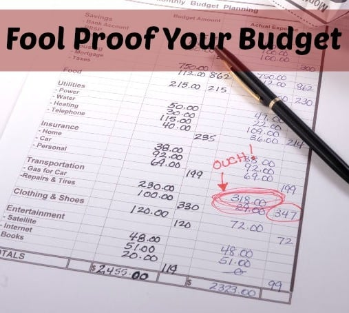 Hand written budget with red circle around an amount that needs budgeting tips to fix. Also includes a black pen.