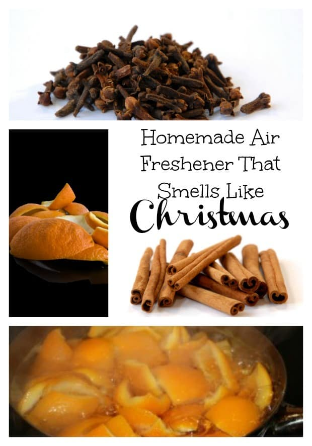 Make this homemade air freshener that smells like Christmas the whole holiday season! Made with 4 ingredients! Includes orange peels, cinnamon, cloves and water.