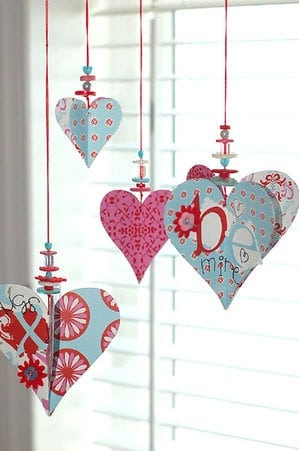 This Valentines Decoration Of Paper Hearts Beads And Ons Is Cute For Any Size House