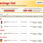 Vons Saving List
