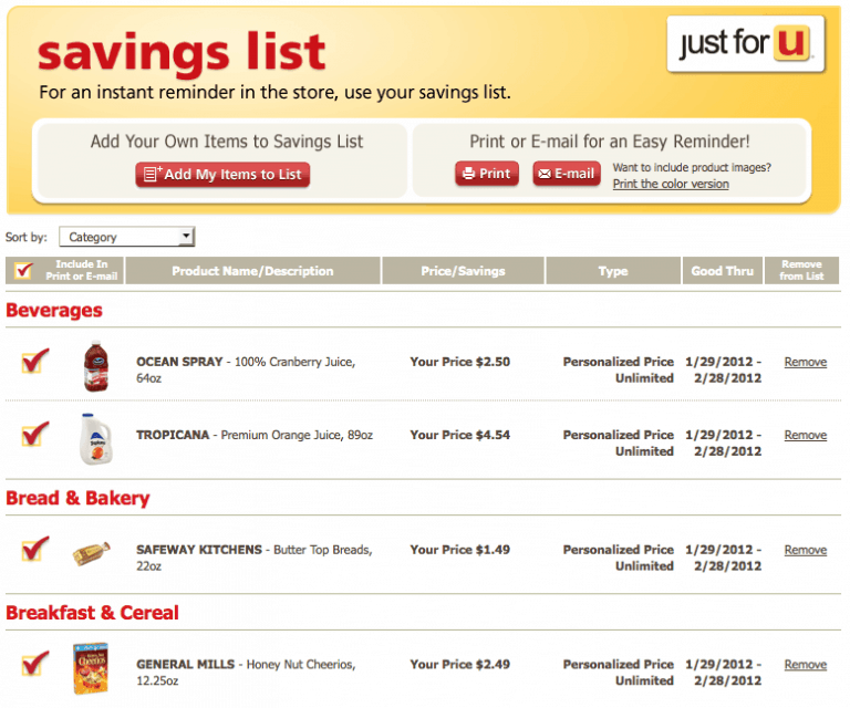 Vons Just for U Personalized Savings Program
