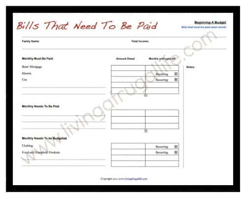 Wants and Needs Budgeting Worksheet