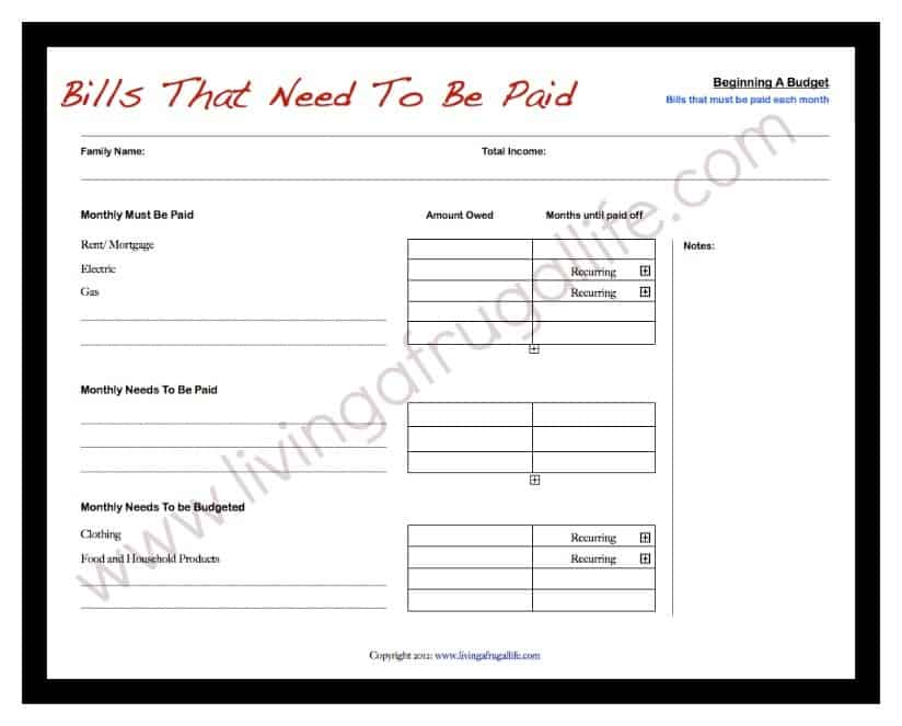 Free Budgeting Printables: A Needs and Wants List • Living A Frugal ...