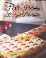 Wrapped christmas gift with red and cream wrapping paper. Text overlay that says free holiday budget printable