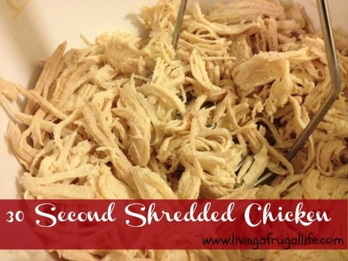 Learn a quick way to shred chicken in 30 seconds with very little clean up! This is perfect for quick dinners, batch cooking, or cooking with kids!
