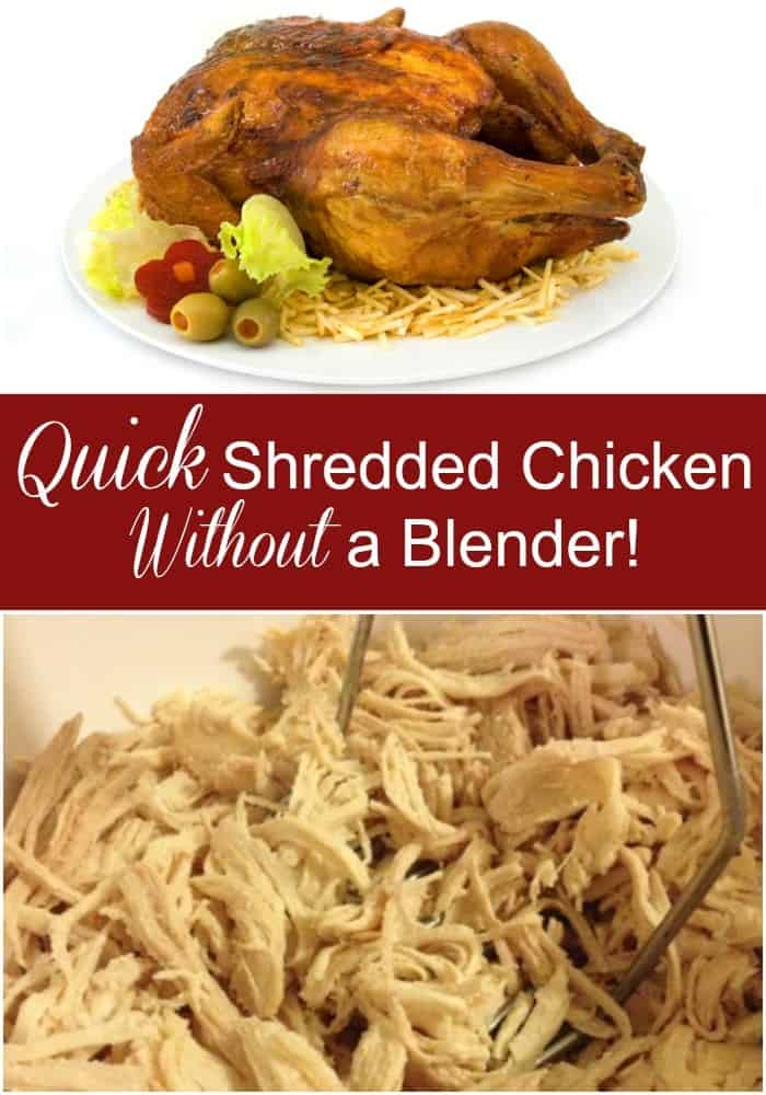 Learn a quick way to shred chicken in 30 seconds or less without a blender and very little clean up! This is perfect for quick dinners or batch cooking!