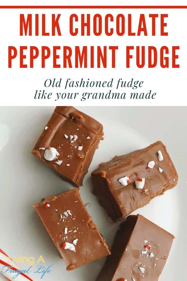 creamy milk chocolate fudge pieces on a white plate with crushed peppermint candy on top of the fudge.