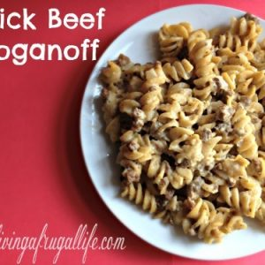 Who doesn't love a quick family meal? This quick Beef Stroganoff is my go to meal when I am short on time! If has cream soups - beef - onions - sour cream and more! This stroganoff is perfect for every mom!