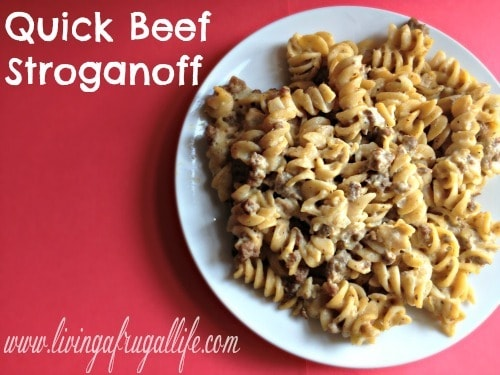 Who doesn't love an easy dinner idea? This easy beef stroganoff is my go to meal when I am short on time! If has cream soups - beef - onions - sour cream and more!