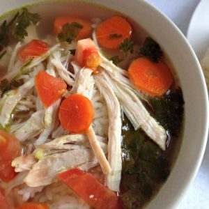 This is a great recipe for left over chicken on the bones or for a cold day! also a great milk chicken soup for sickness!