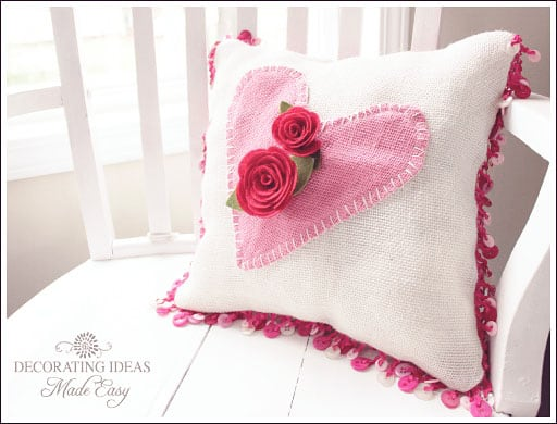 valentine decorating pillow