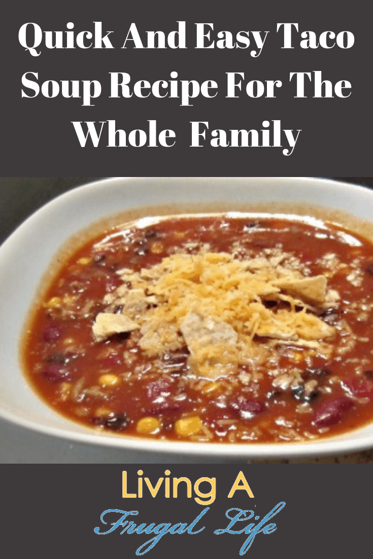Image of the quick and easy taco soup recipe in a white bowl with a dark background