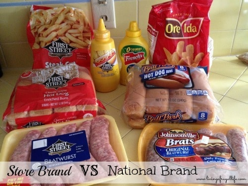 packs of buns, bratwurst and frozen fries on a counter.  There is a text overlay that says store brand vs national brand.