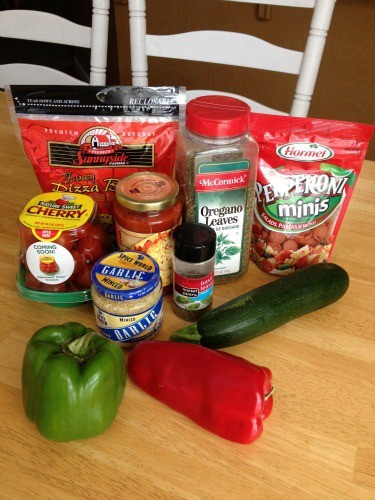 Ingredients for Zucchini pizzas