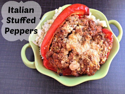 Make these really healthy Italian stuffed peppers recipe. They are made with spaghetti sauce, onion, and ground beef in a pepper shell.
