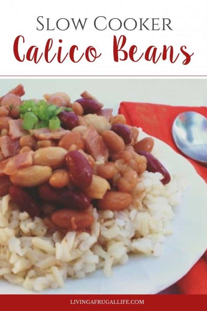white plate with rice and slow cooker calico beans on top