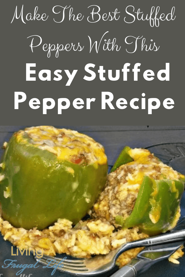 Green bell stuffed peppers filled with rice, cheese, tomatoes, onion, and ground beef to make an easy stuffed peppers recipe