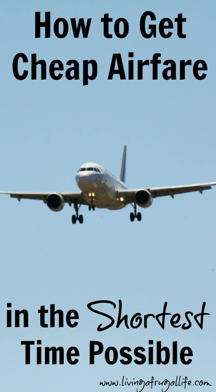 airplane landing from the sky with text that says how to get cheap airfare in the shortest time possible.