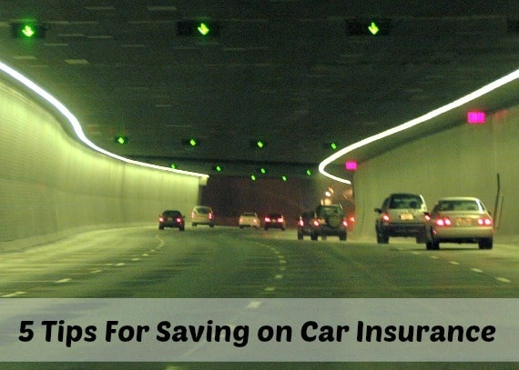 cars in a tunnel with their lights on with a text overlay that says 5 tips for saving money on car insurance