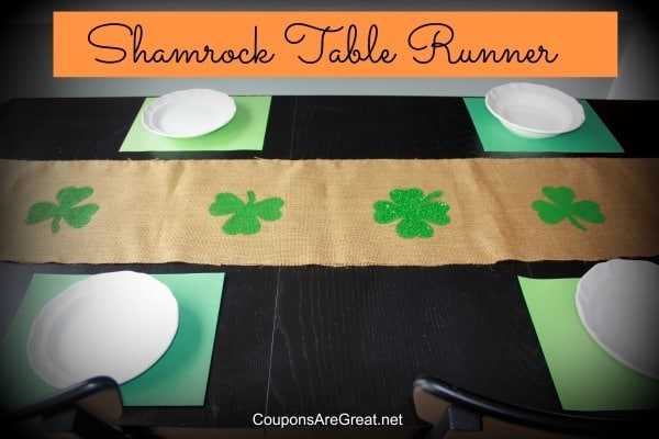 Burlap shamrock table runner