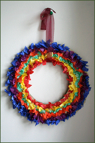 St Patricks Day Rainbow Wreath