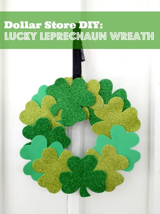 This DIY St. Patrick's day craft wreath is so easy to make on a budget! It is made with items you can find at your dollar store for around $3