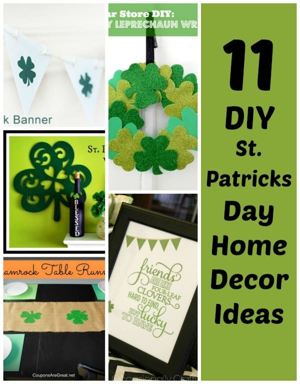 home decor ideas for st patricks day, pictures include a shamrock wreath, shamrock garland,
