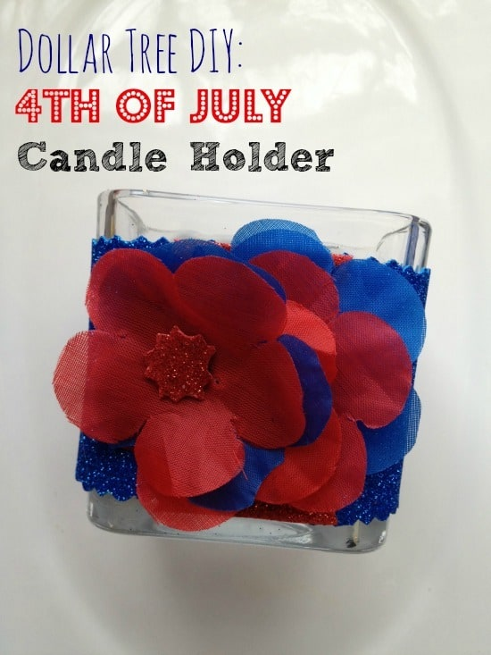 Are you looking for a patriotic DIY home decor item? Make a cute patriotic candle holder! It is easy and the total cost of this project is $3!