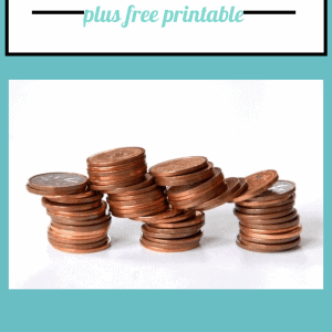 3 stacks of pennies surrounded by a teal boarder with text overlay that says how to keep track of individual bills plus free printable.