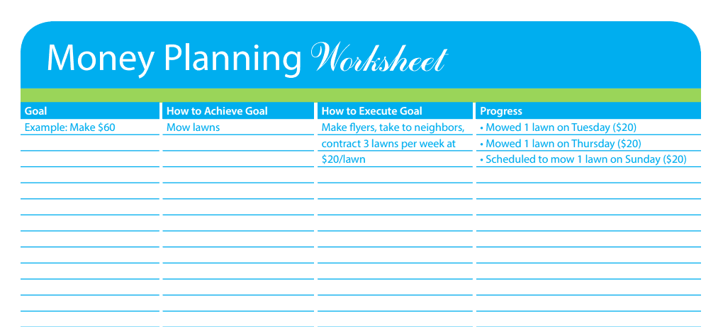money planning worksheet