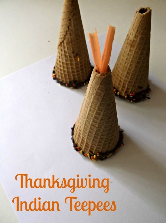 Of all the great thanksgiving kids crafts, I love this one the most! The kids love making these teepees using ice cream cones, chocolate, and sprinkles!