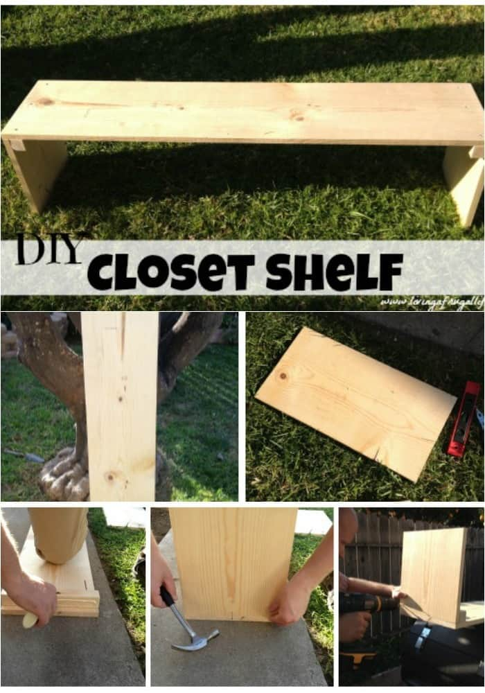 This tutorial for free standing shelves These can be a fee standing single shelf or be stacked on eachother. It includes how to build DIY freestanding shelves for added space in a closet. Includes step by step instructions with pictures!