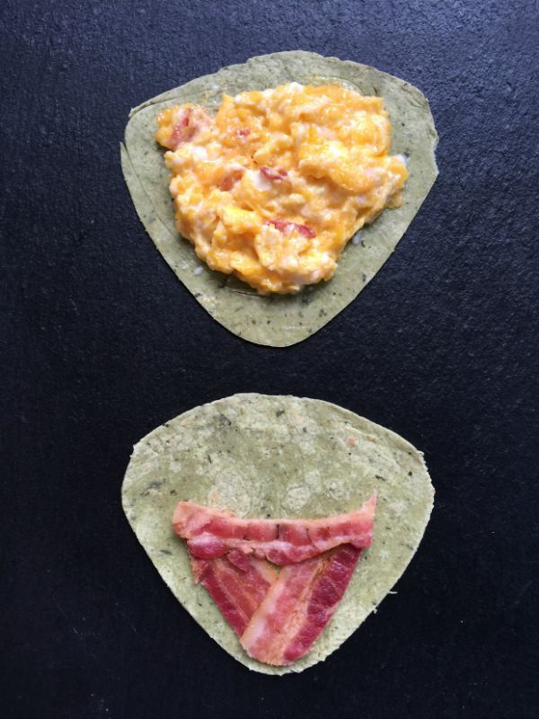 How to layer your Muppets inspired Kermit breakfast quesadilla