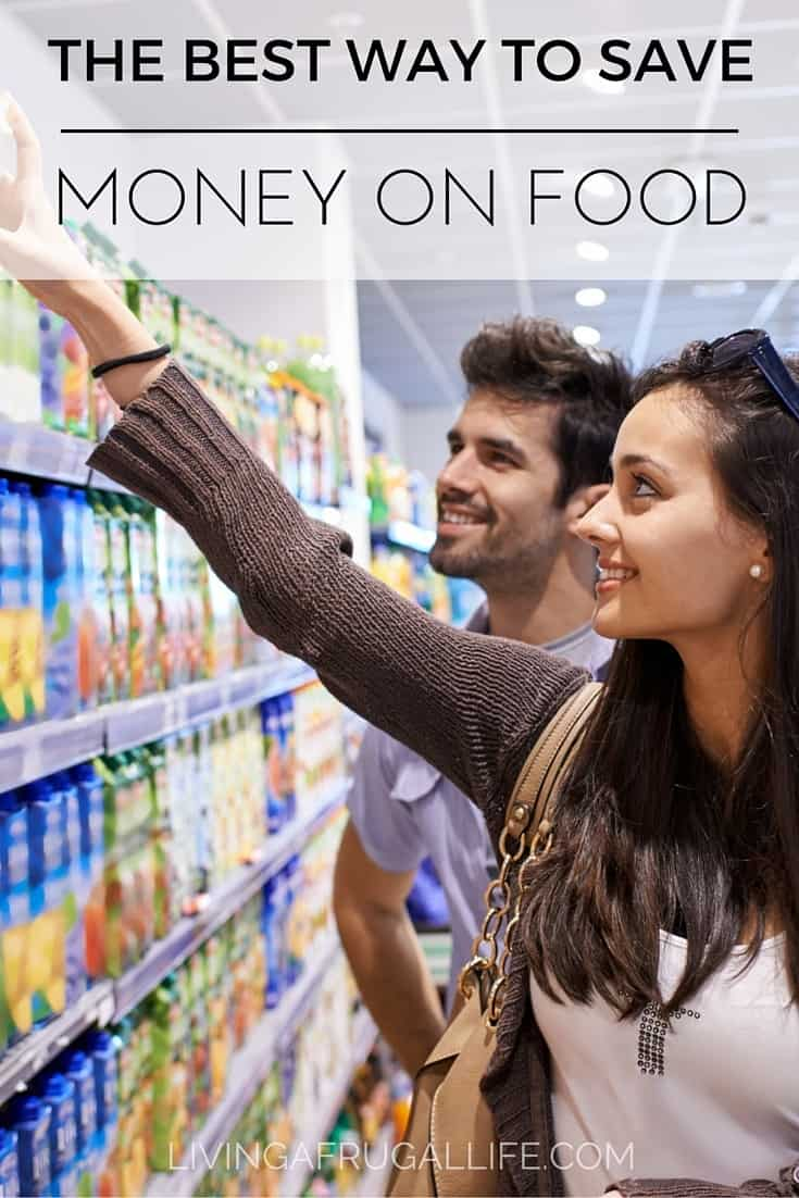 couple shopping for food. The woman is reaching to pull an item off the shelf with a text overlay that says the best way to save money on food