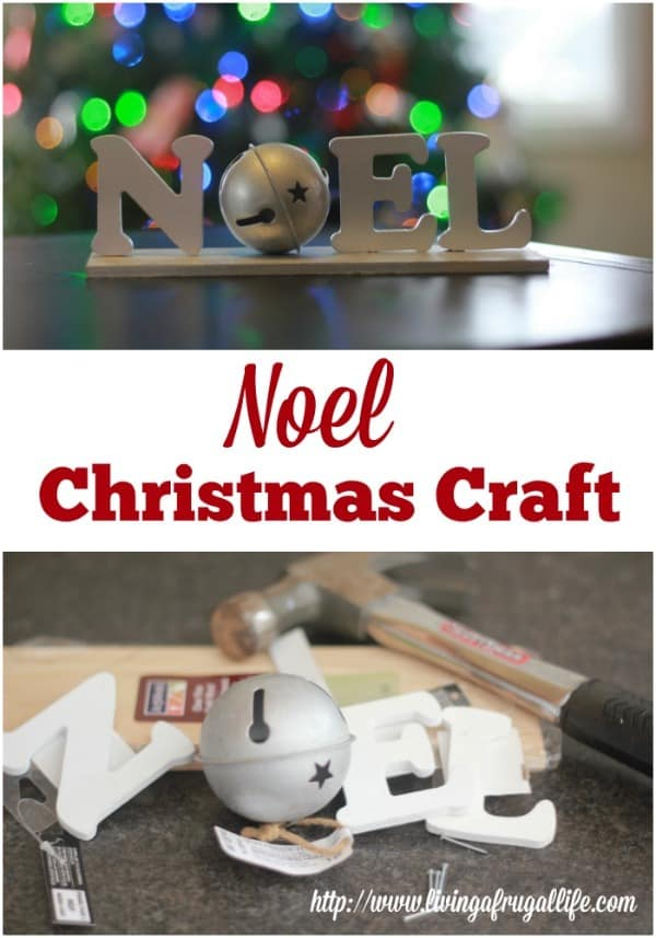 Finished wood craft that spells noel and stands on a table or shelf. Includes text overlay that says Noel Christmas Craft.