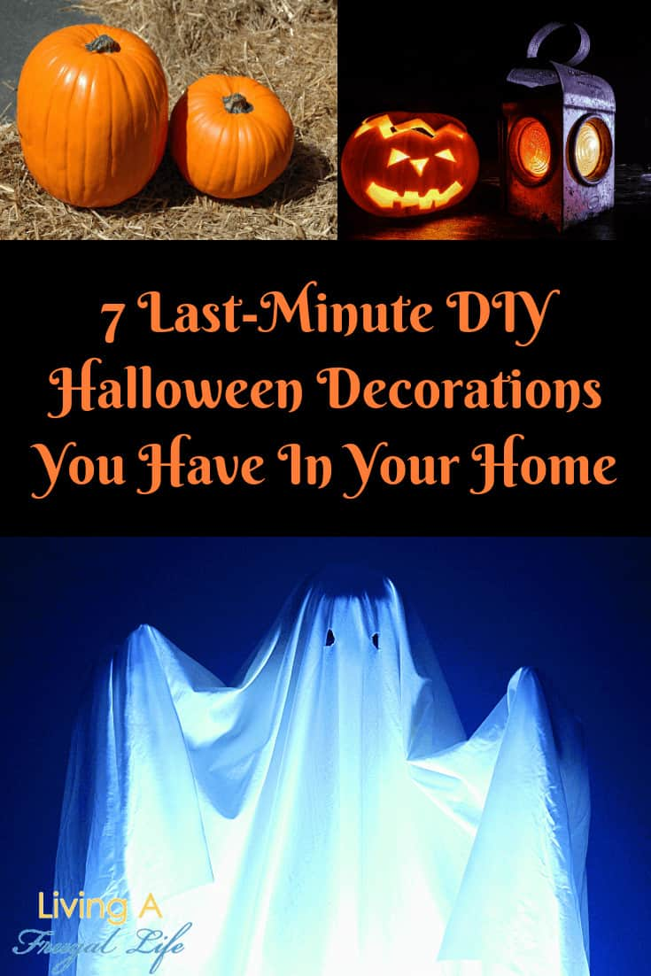 uncut pumpkins, carved pumpkins and an easy DIY halloween decoration ghost made of a white sheet