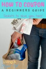 "Woman holding coupons and a shopping bag with text overlay that says "" How to coupon: A Beginner's guide Secrets to save you tons!"""