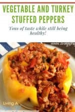 Ground turkey and vegetables with a tomato sauce in a yellow bell pepper with no top. Has a text overlay that says vegetable and turkey stuffed peppers.